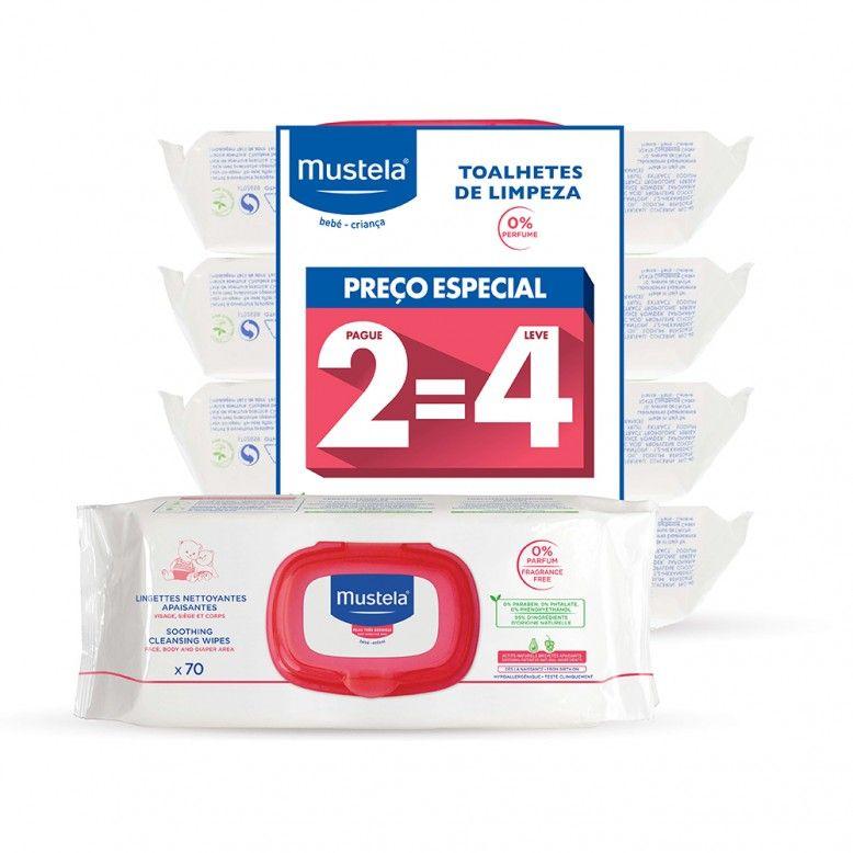 Mustela Bebé Toalhetes de Limpeza 0% Perfume 4x70 unidades