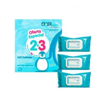 Bioderma ABCDerm Toalhetes H2O Pack 3x60 Unidades