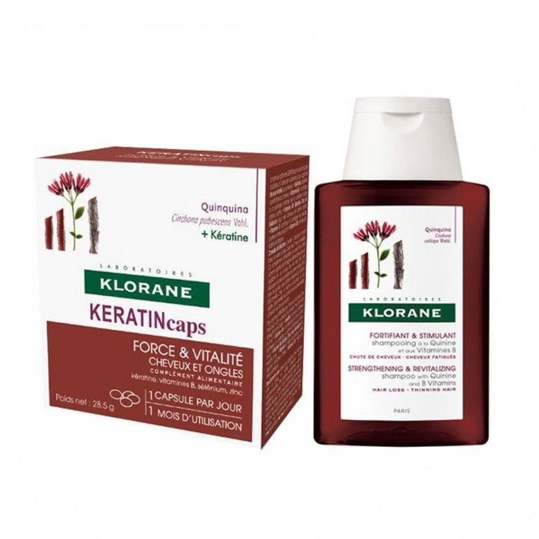 Klorane Capilar KeratinCaps 30 Cápsulas + Champô de Quinina 100ml