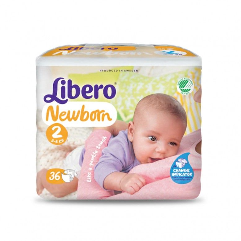 Libero Fraldas Newborn Recém-nascido T2 3-6Kg x36