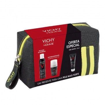 Vichy Homme Bolsa Mousse Barbear 200ml + Deo Roll-On 72h 50ml + Gel Duche 100ml