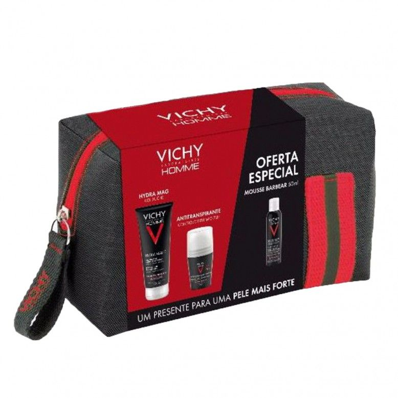 Vichy Homme Bolsa Gel  Duche Hydra Mag 200ml + Deo Roll-On 72h 50ml + Mousse Barbear 50ml