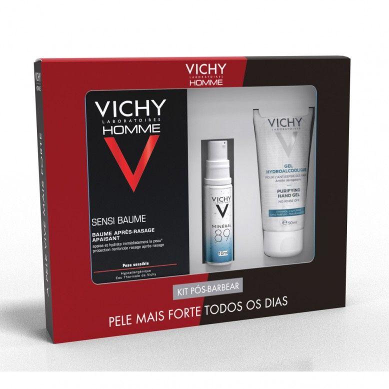 Vichy Homme Coffret Kit Pós-Barbear Sensi Baume 75ml + Minéral 89 10ml + Gel Hidroalcoólico 50ml