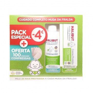 Halibut Muda Fraldas Linimento 200ml + Creme Protetor 50g + 100 Compressas