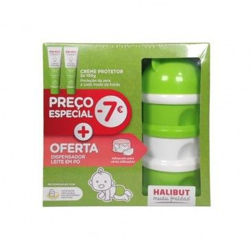 Halibut Muda Fraldas Creme Protetor 2x100g + Dispensador de Leite