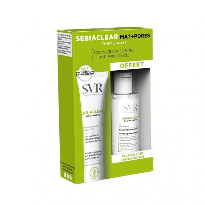 SVR Sebiaclear Pack Mat+Pores 40ml + Água Micelar 75ml